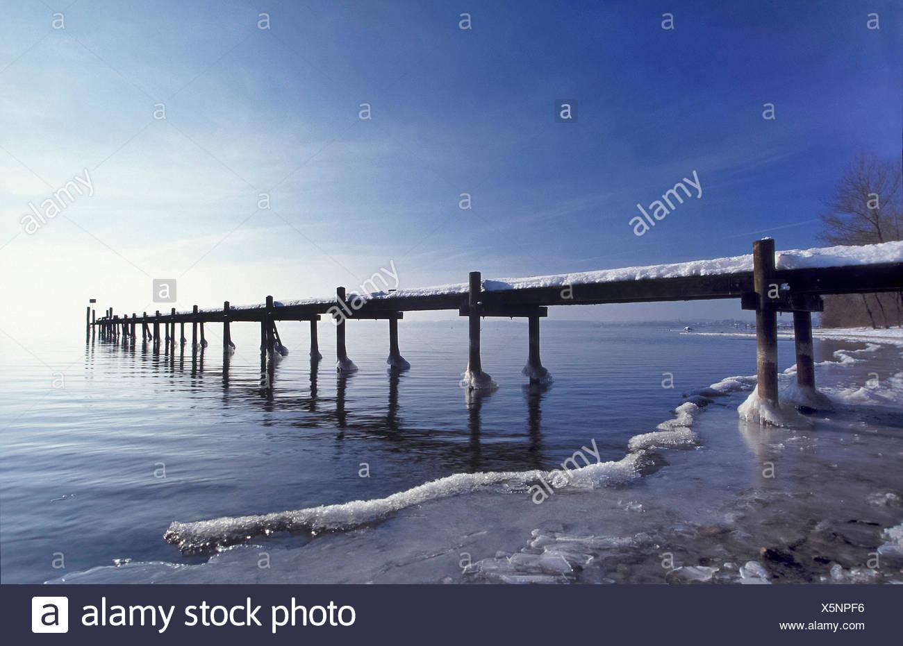 Bavaria, Europe, Germany, Upper Bavaria, Chiemsee, Herreninsel, Herrenwörth, Chiemgau, sky, lake, water, footbridge, water, ice, - Stock Image