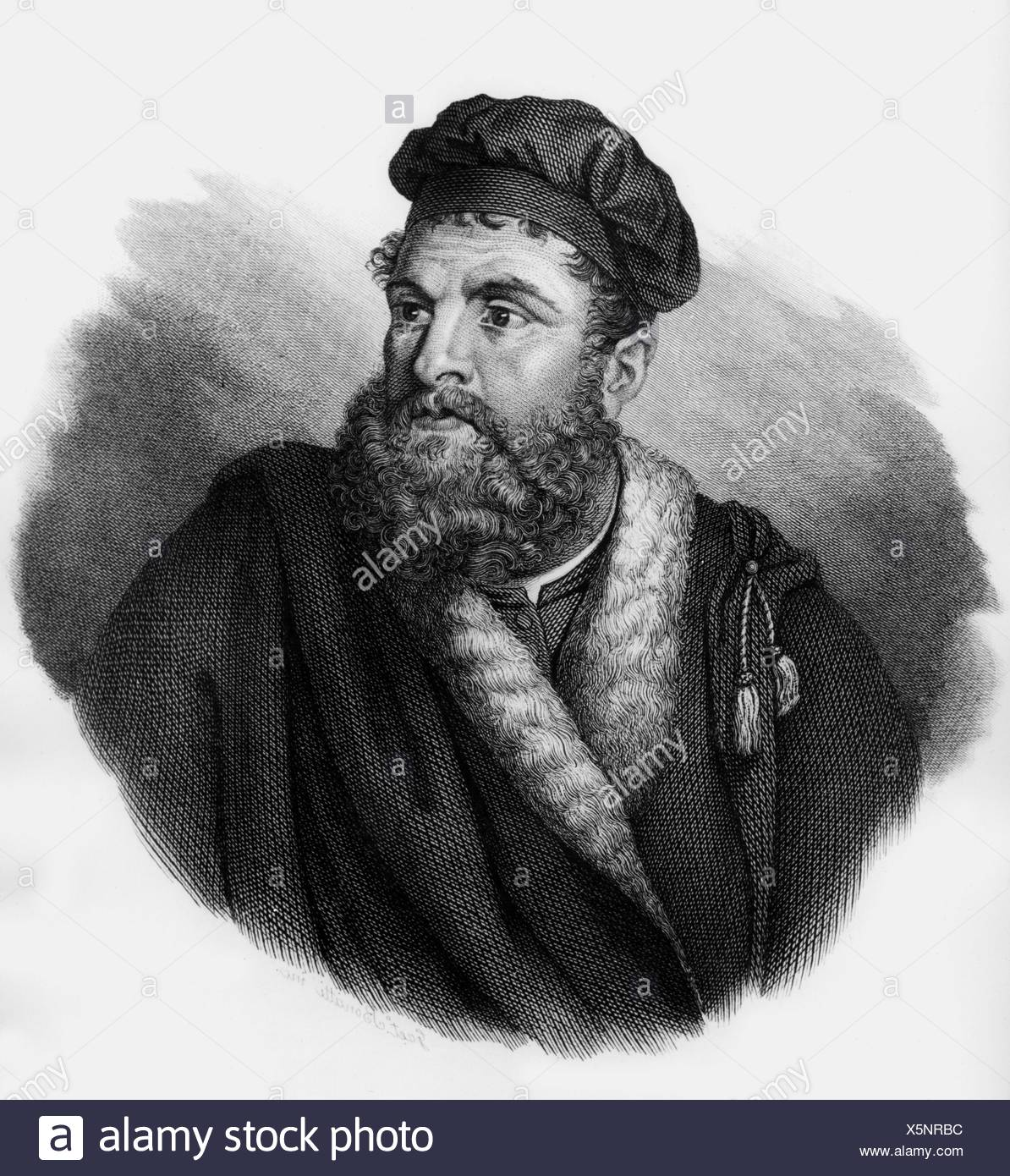 Polo, Marco, 1254 - 8.1.1324, Venetian merchant and traveller, portrait, wood engraving, 19th century, Additional-Rights-Clearances-NA - Stock Image