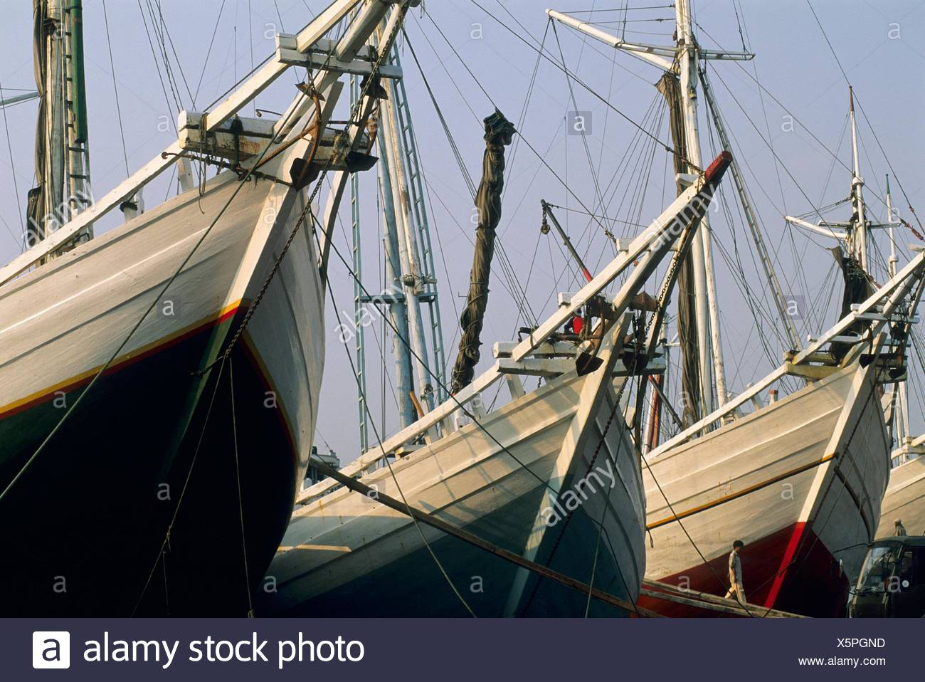 The old port for sailing vessels in Jakarta, Sunda Kelapa harbour, Java, Indonesia - Stock Image