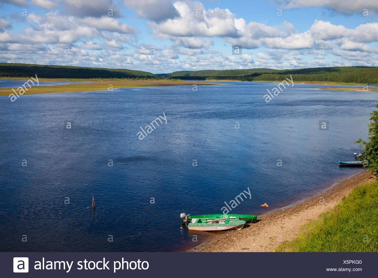 Varzuga River near Varzuga, Russia, Oblast Murmansk, Kola - Stock Image