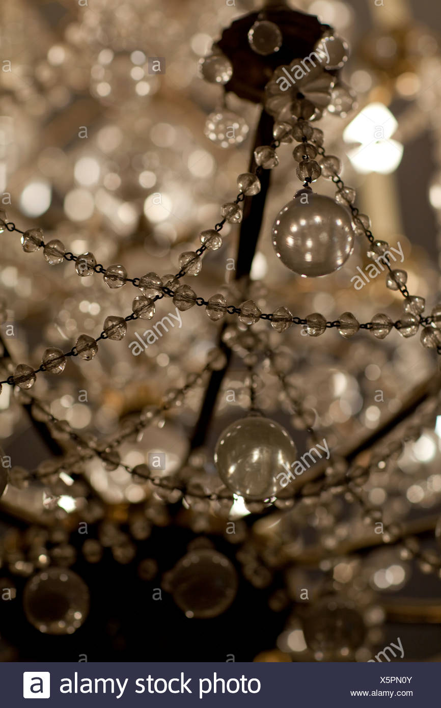 Close up of an ornate chandelier at the Musee Carnavalet. - Stock Image