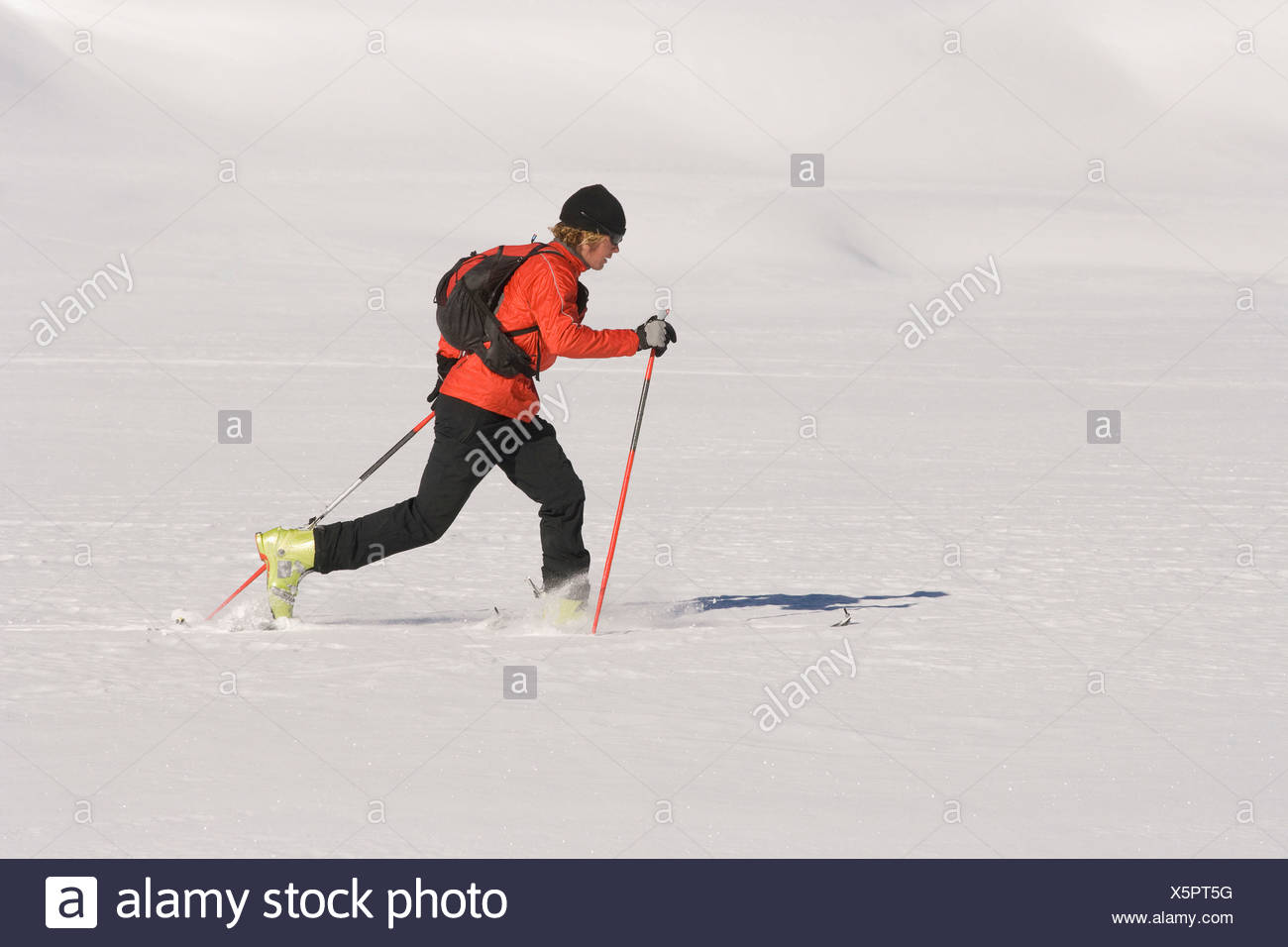 A skier alpine touring in Colorado. - Stock Image