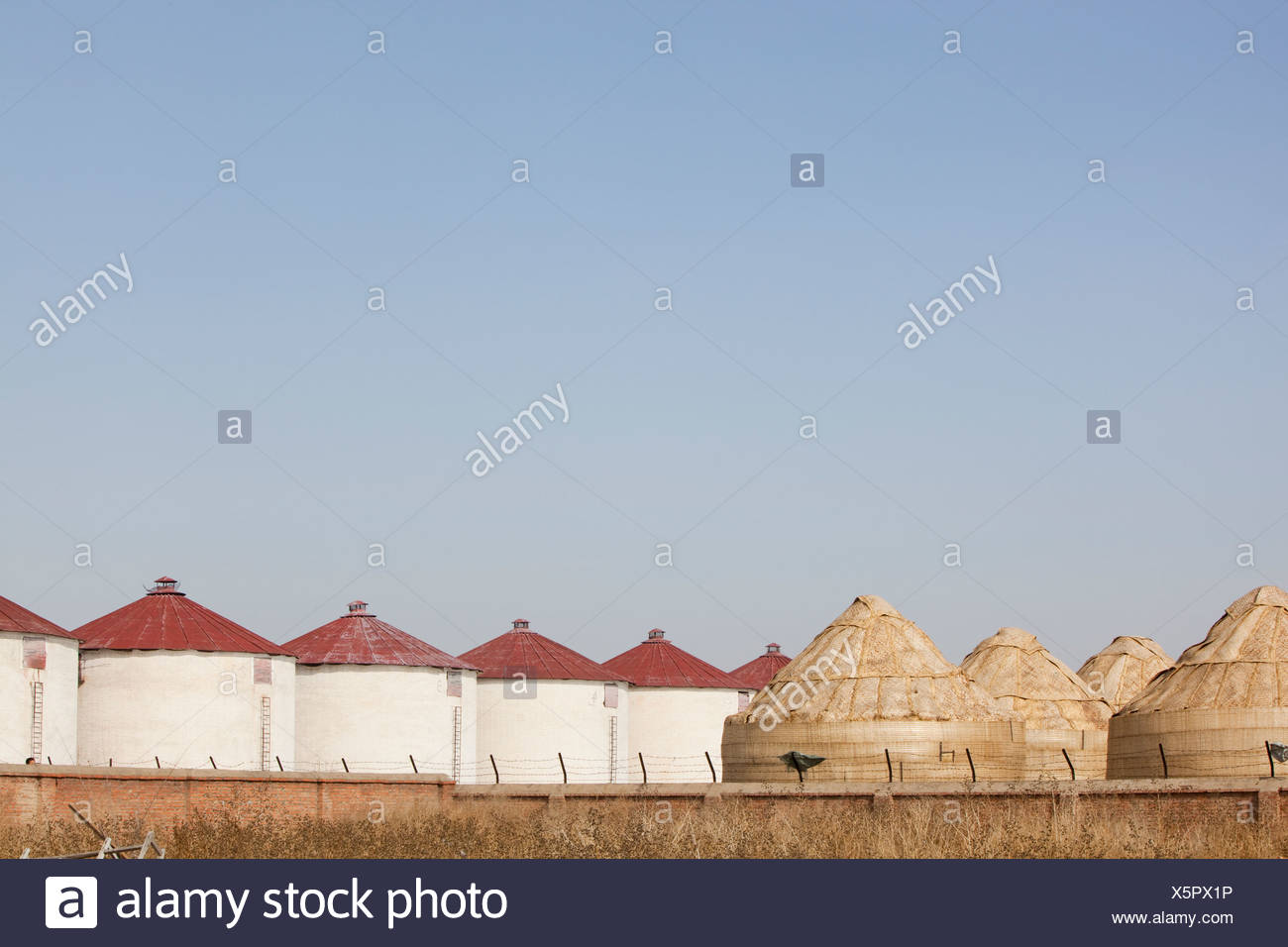 A food depot in Inner Mongolia. Climate change induced drought and desertification is reducing crop yields in the area. - Stock Image