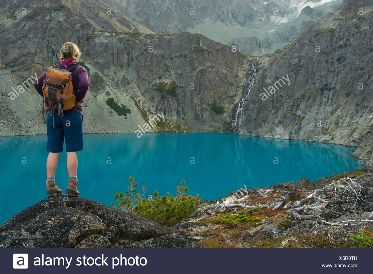 Hiking in the Coast Mountains, BC - Stock Image