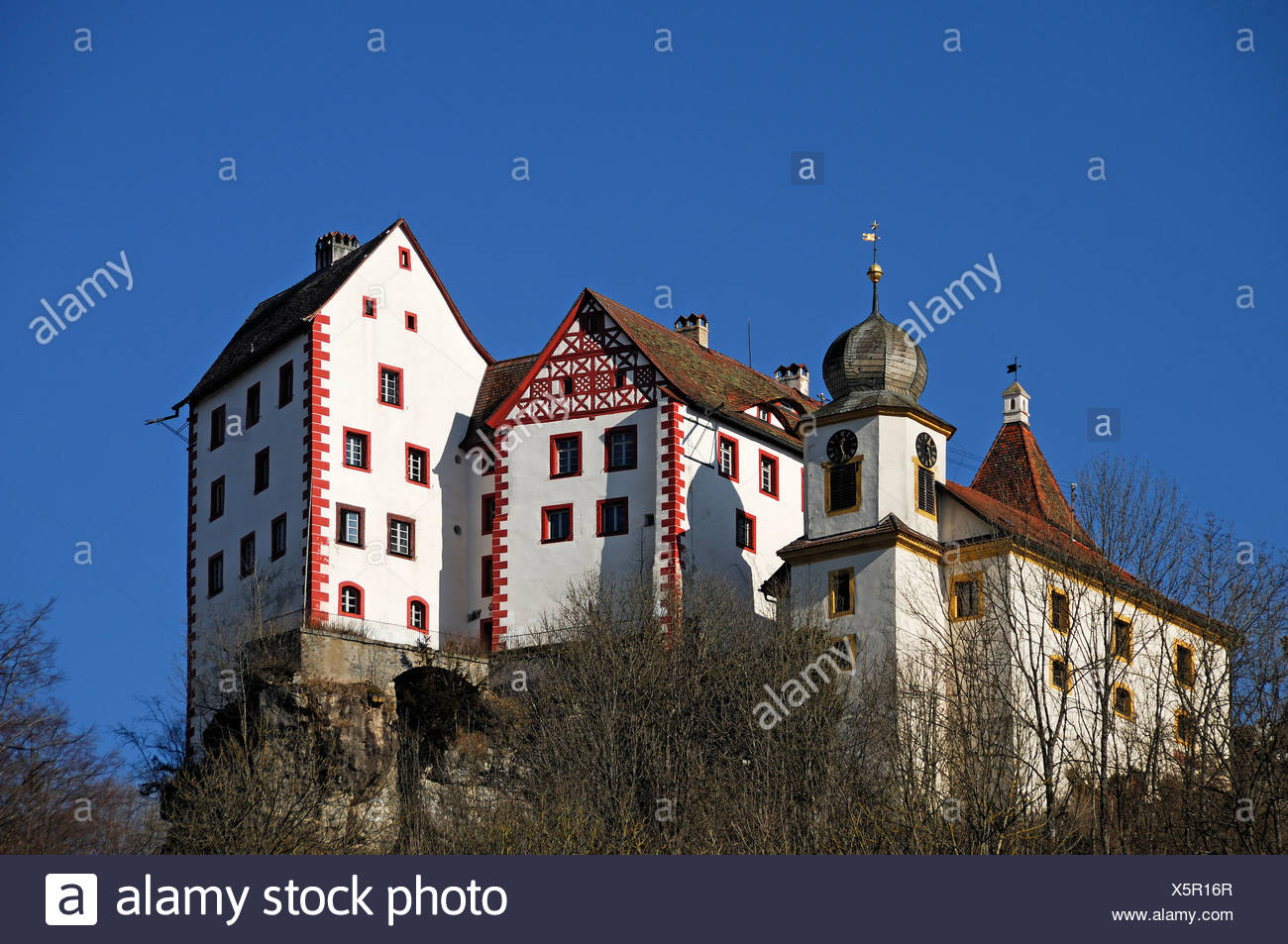 Burg Egloffstein Castle, mentioned in 1358, with castle capel from 1750, Egloffstein, Upper Franconia, Bavaria, Germany, Europe - Stock Image