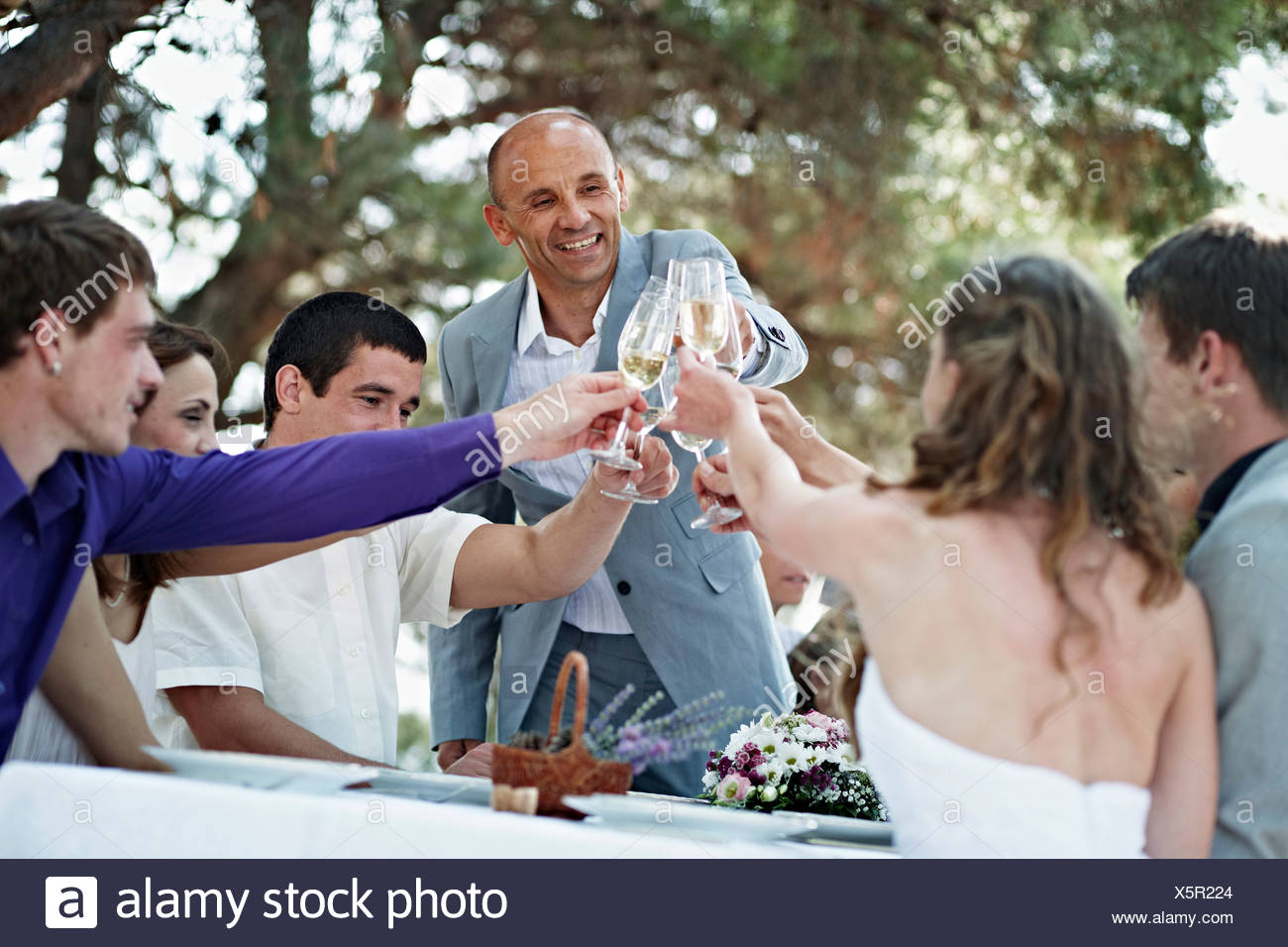Wedding Guests Toasting To Each Others, Croatia, Europe - Stock Image