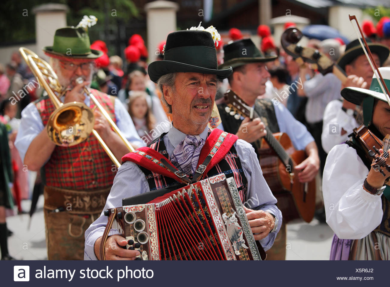 Folk bank, Narzissenfest Narcissus Festival in Bad Aussee, Ausseer Land, Salzkammergut area, Styria, Austria, Europe - Stock Image