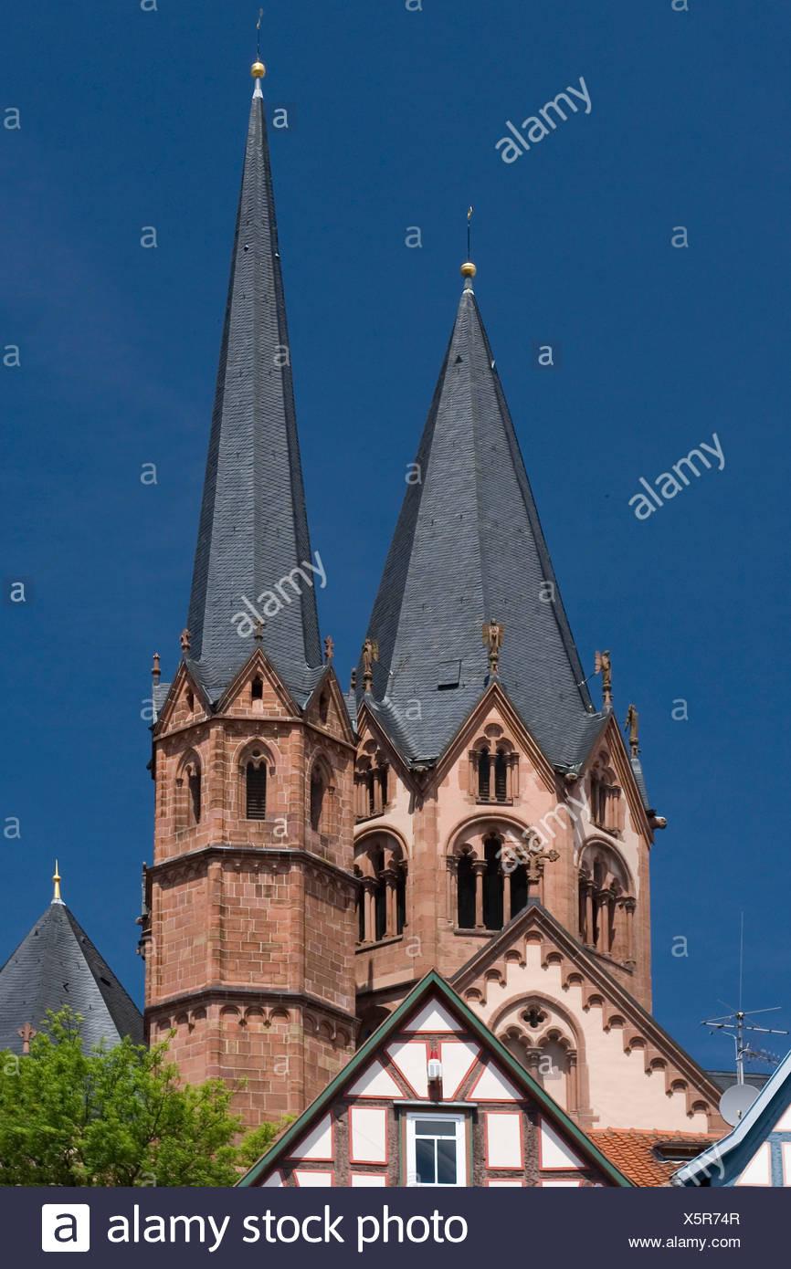 Germany Hessen Gelnhausen Marien's church church churches steeple steeples steeples place of interest - Stock Image