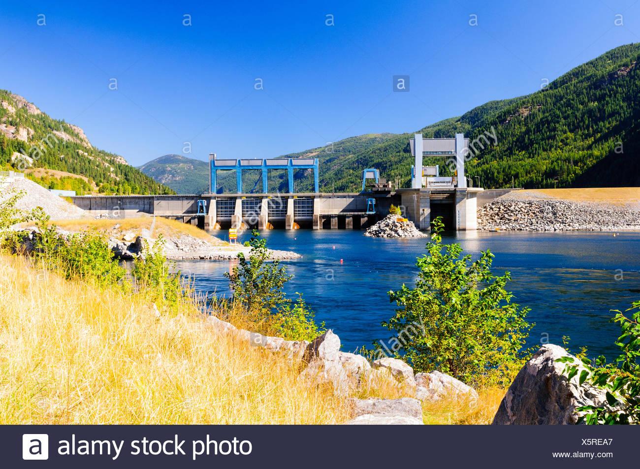 The Hugh Keenleyside Dam on the Columbia River near Castlegar, British Columbia. - Stock Image