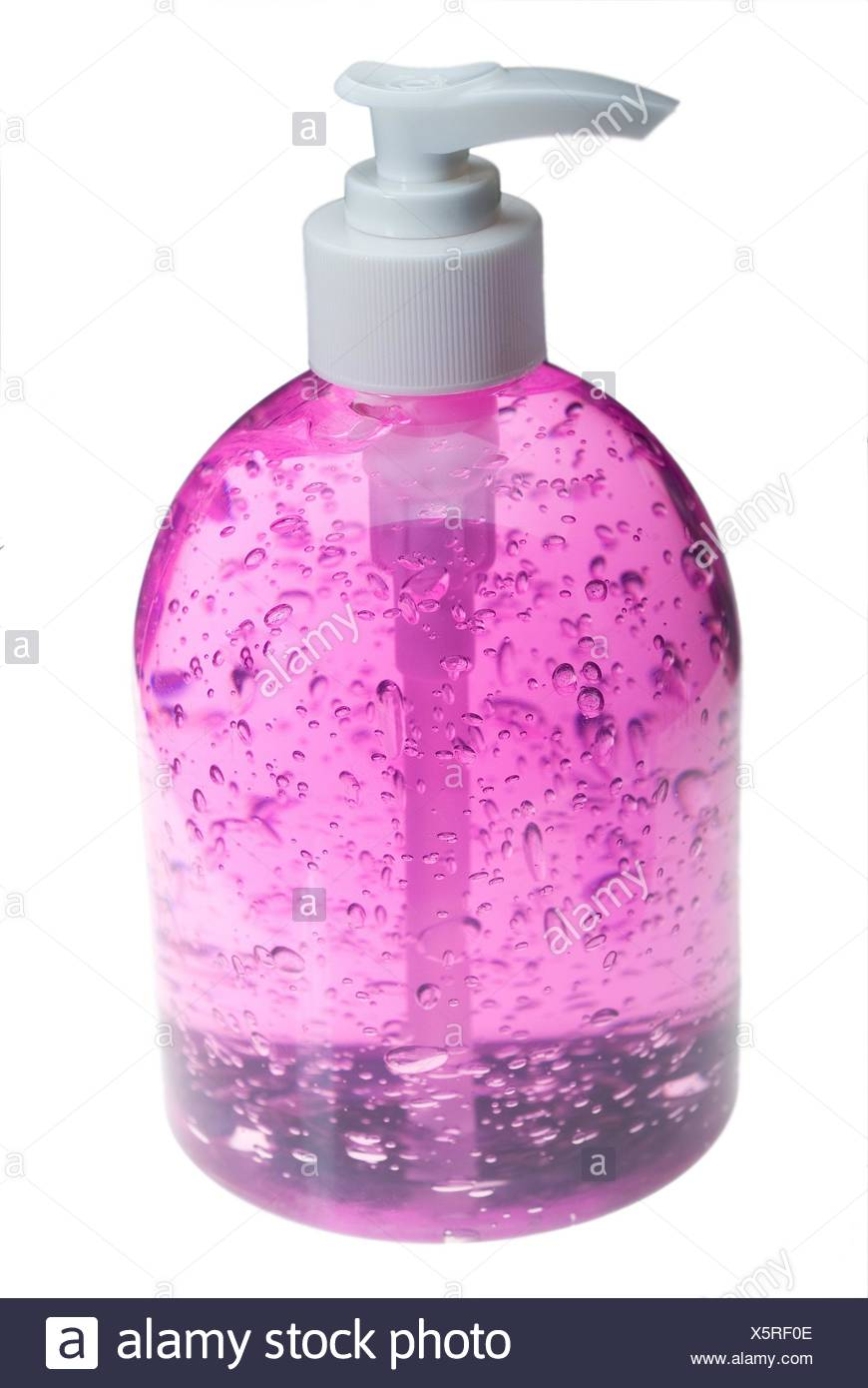 colorfull hair gel bottle over white background. - Stock Image