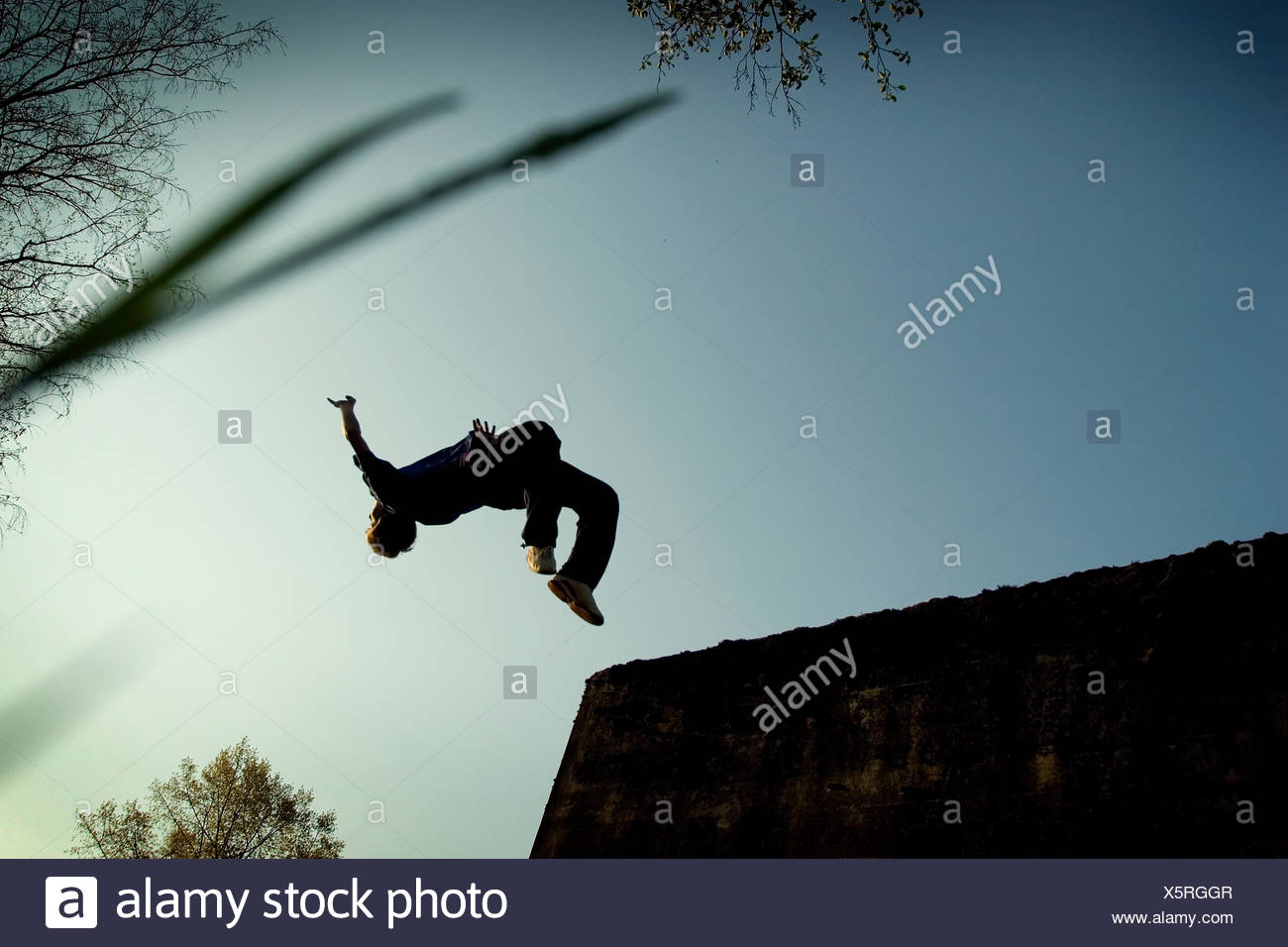 jump,parkour,somersault - Stock Image