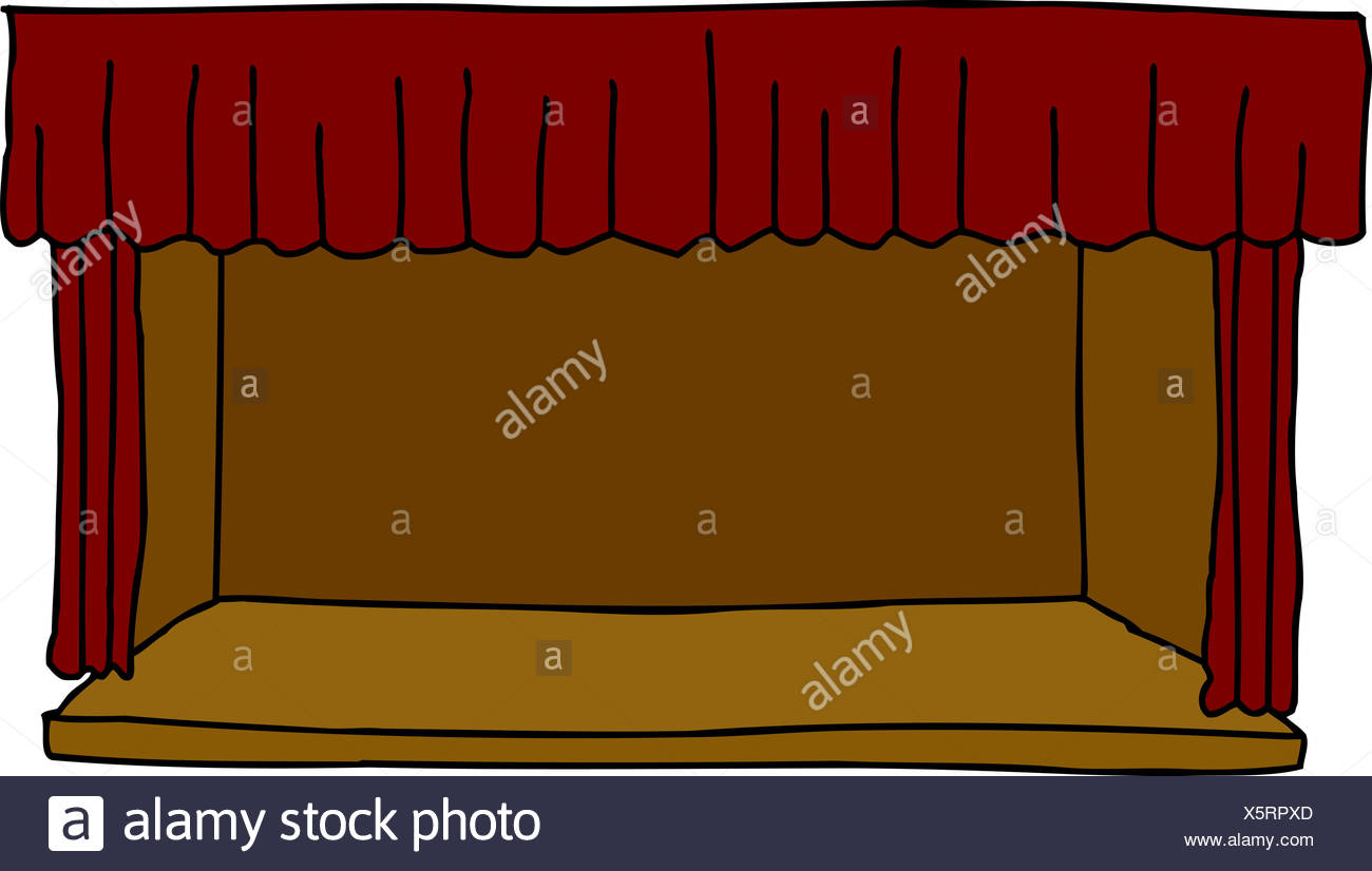 Isolated Cartoon Of Empty Stage With Red Curtains Stock Image