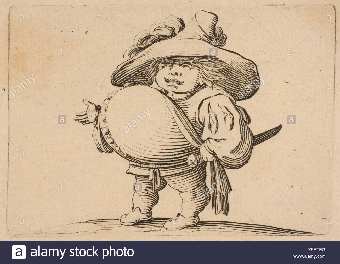 L'Homme au Gros Ventre Orné d'une Rangée de Boutons (Man with a Large Belly Decorated with a Row of Buttons), from Varie Figure Gobbi, suite appelée - Stock Image