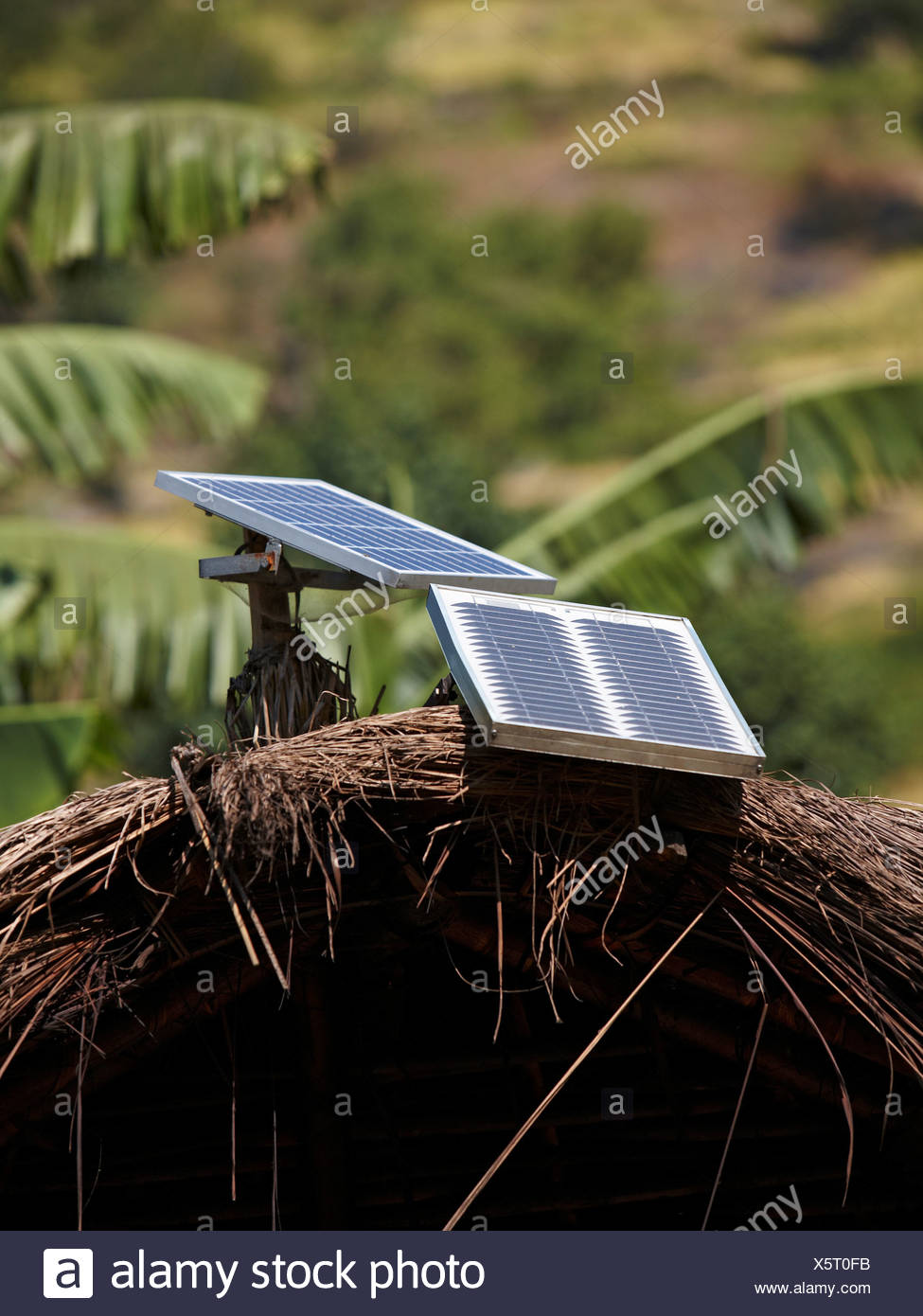 Small Solar Panels on Thatch Roof Huts - Stock Image