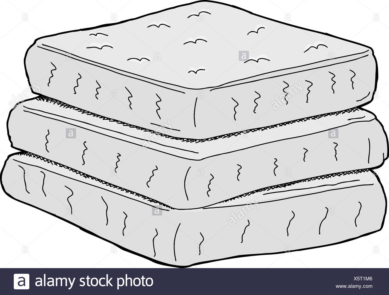 stack of mattresses. Isolated Stack Of Cartoon Mattresses On White Background - Stock Image