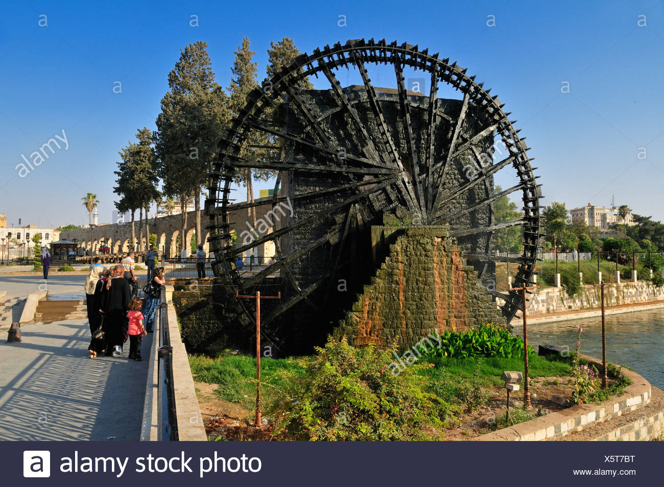 Noria waterwheel on the Orontes River in Hama, Syria, Middle East, West Asia Stock Photo