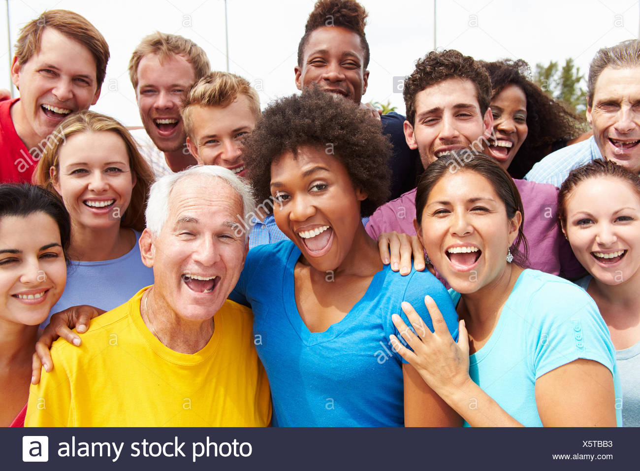 Outdoor Portrait Of Multi-Ethnic Crowd - Stock Image