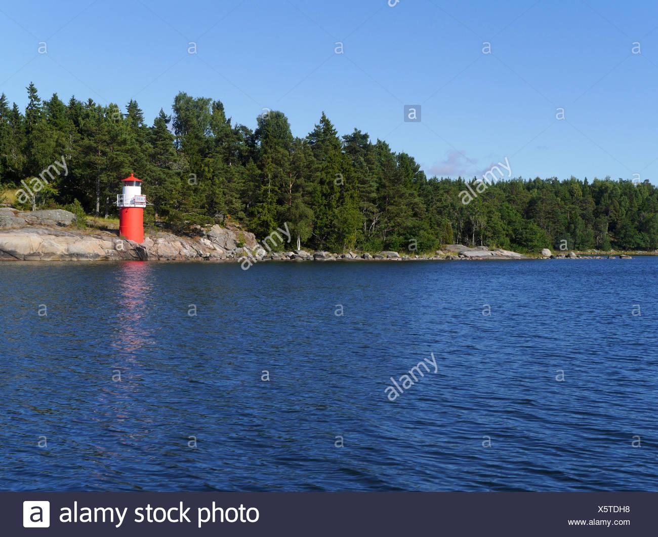 beacon on björkö, stockholm archipelago, stockholms län, sweden - Stock Image