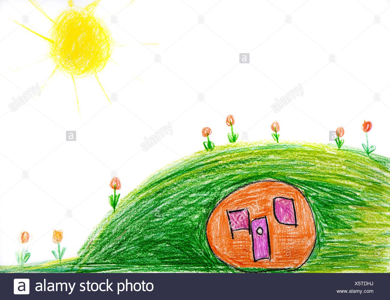 Child's drawing, hill and camper - Stock Image