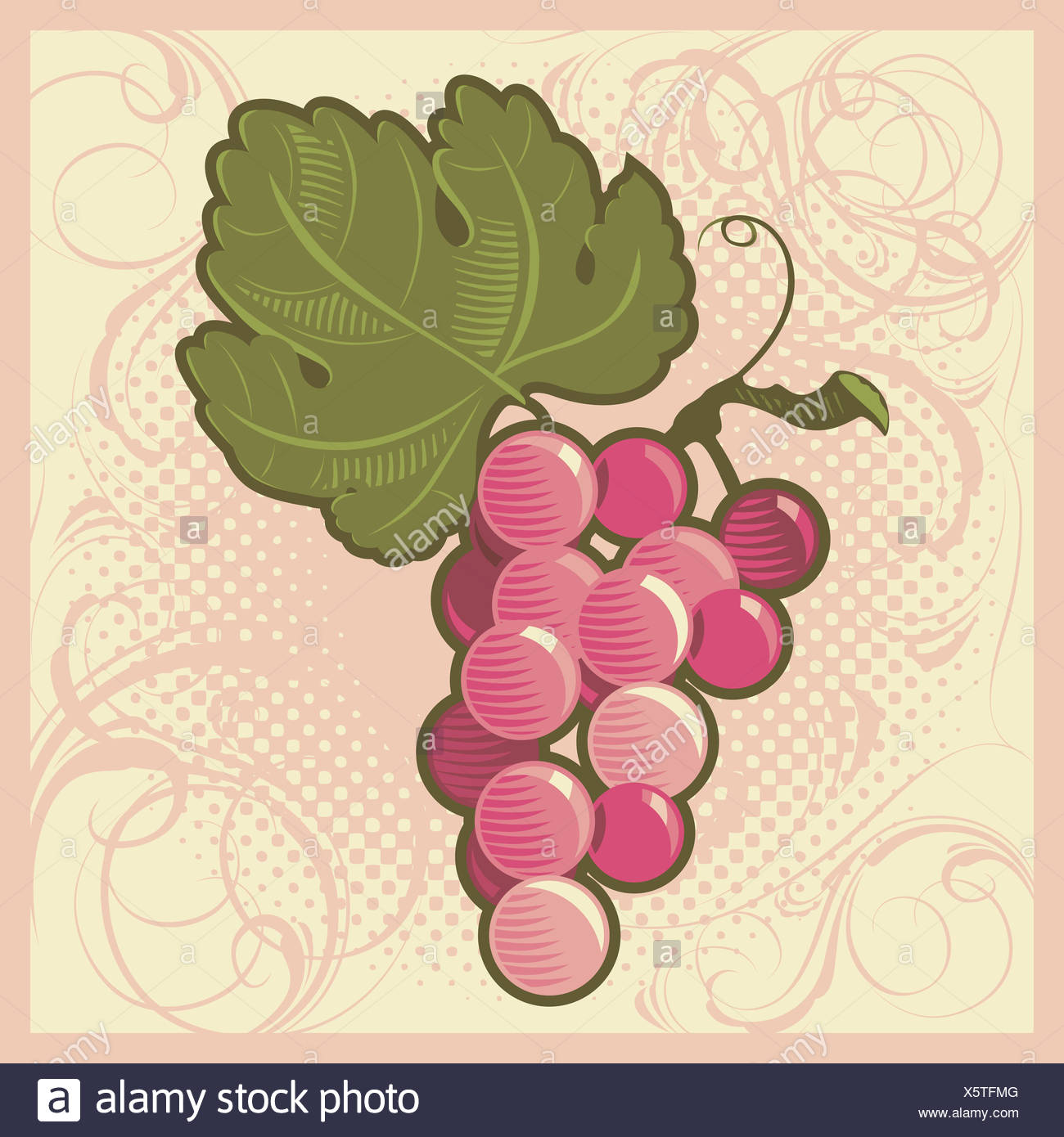 Retro-styled grape bunch - Stock Image