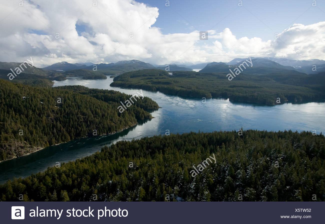 Okisollo Channel.  Maurelle Island on the left, Sonora Island on the right, British Columbia, Canada. - Stock Image