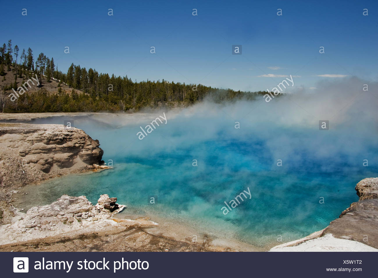 USA, Montana, Wyoming, Yellowstone National Park, Hot water vapor in national park - Stock Image