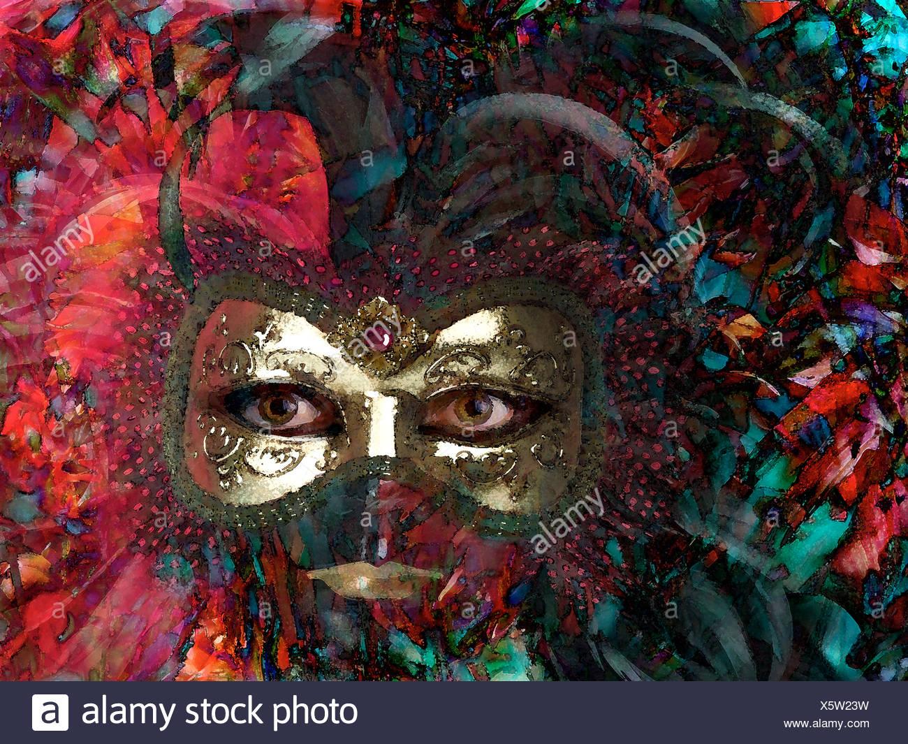 Fanciful Mardi Gras Mask - Stock Image