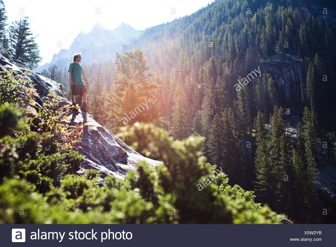 A young man hiking looks out over the valley in Wyoming. - Stock Image