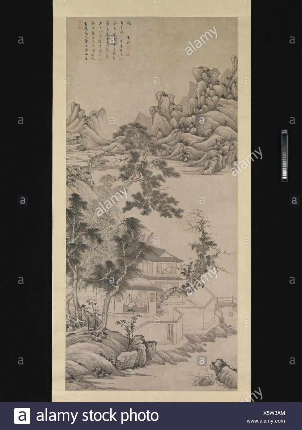 清 王é'' 倣巨然《溪山高士åœ-》 軸 紙本/Lofty Scholar among Streams and Mountains after Juran. Artist: Wang Jian (Chinese, 1609-1677 or - Stock Image