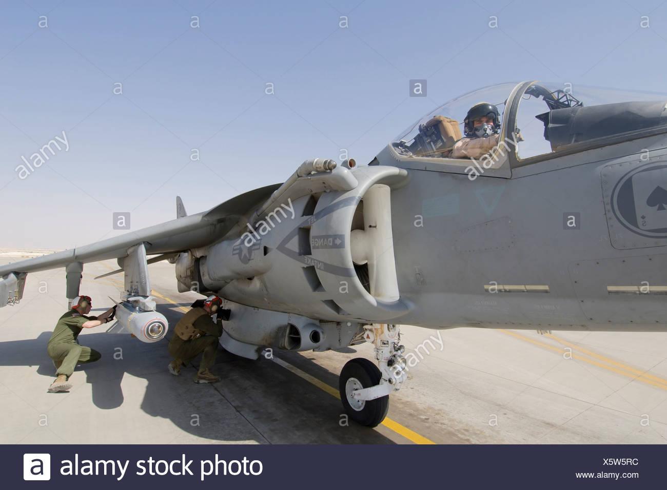A US Marine Arms Laser Maverick Air Ground Missile Mounted on AV-8B Harrier Ready Launch Al Asad Air Base in Iraq's Al Anbar - Stock Image