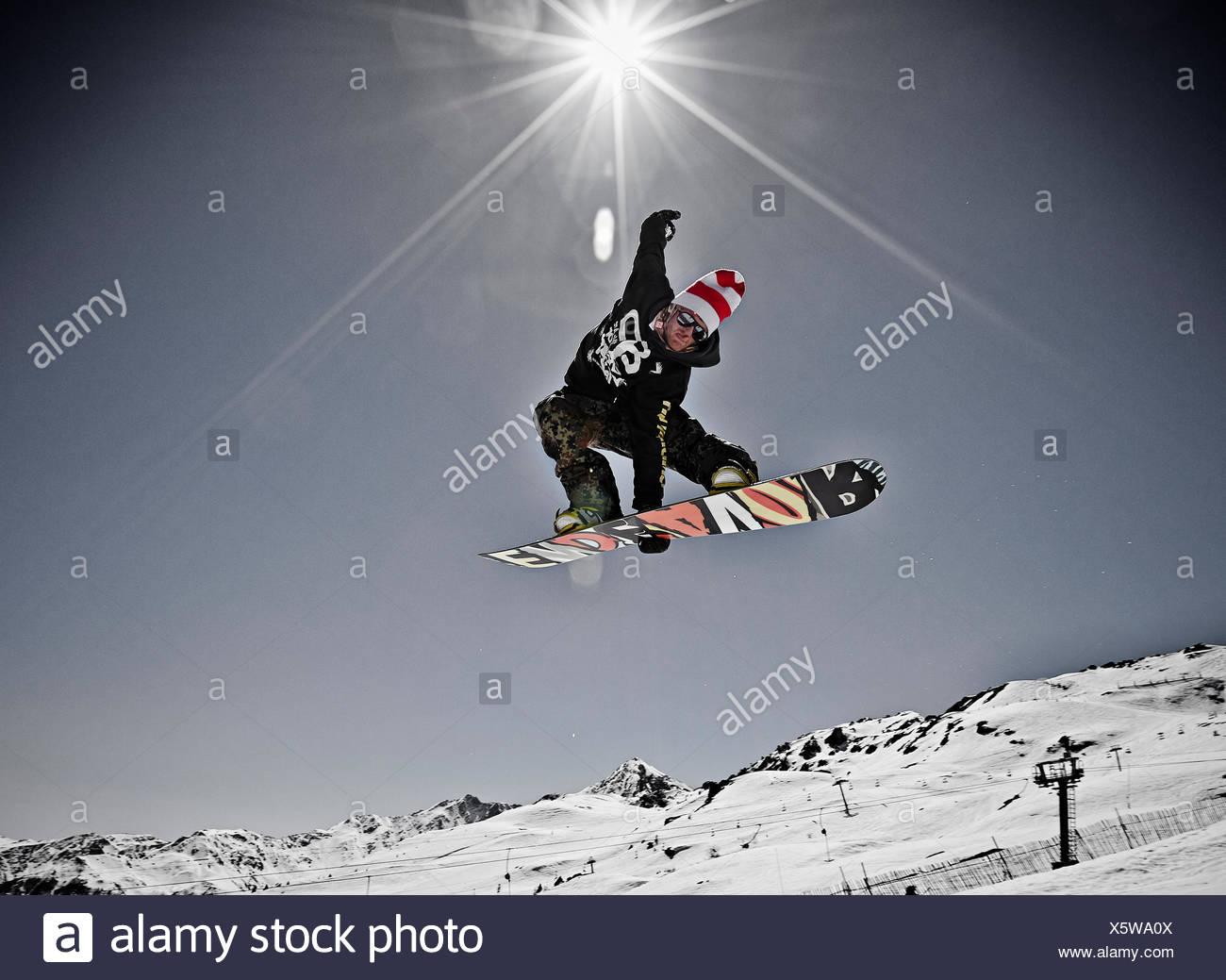 James Phillips Snowboarder Les Arcs - Stock Image