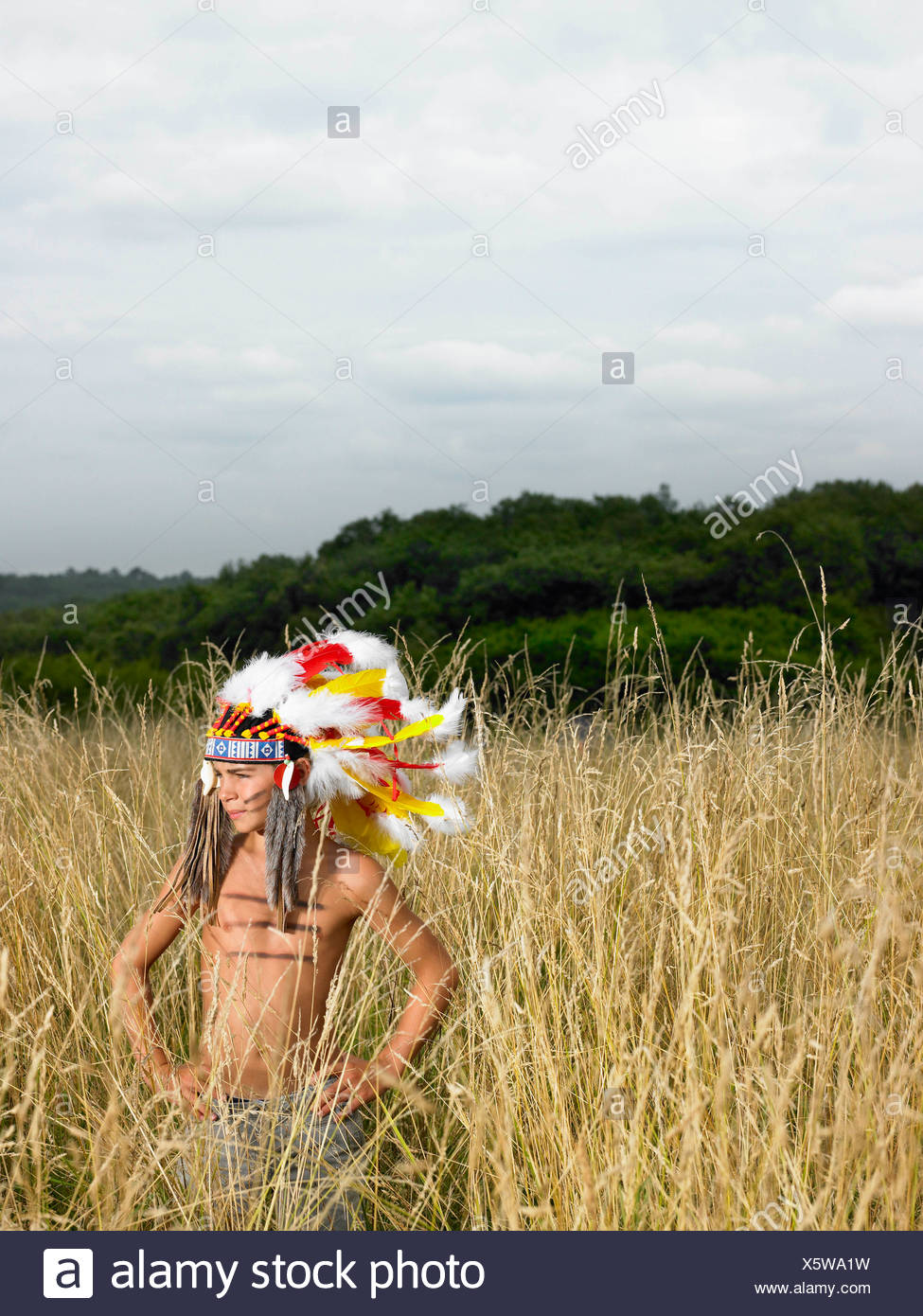 Boy dressed up as north american indian - Stock Image