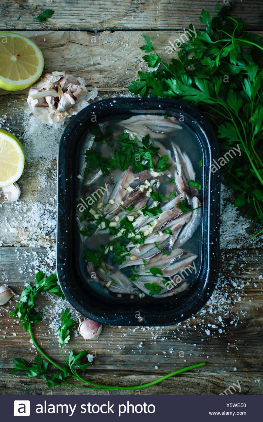 boquerones al limon, fresh European anchovies with lemon tapas - Stock Image