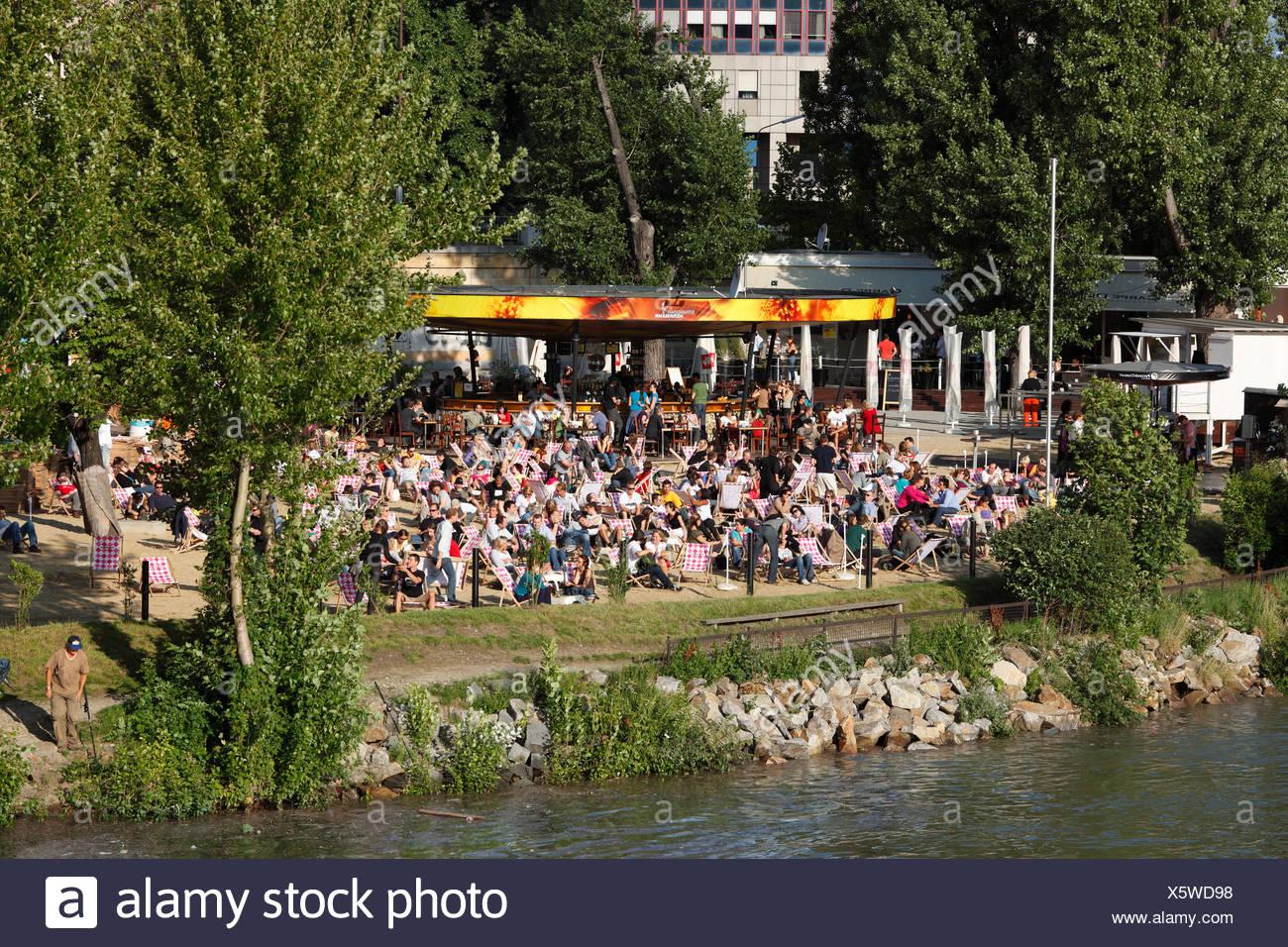 Herrmann beach bar on the Danube Canal, Herrmann Park, Vienna, Austria, Europe - Stock Image