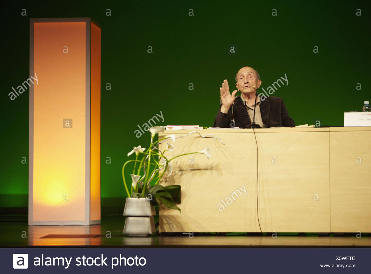 Conference about the secrets of everlasting youth and longevity aliments by Rene Levy, Bioterra (Organic products, - Stock Image