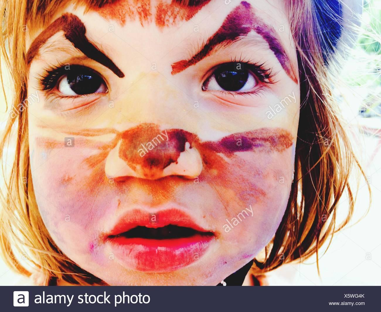 Girl Imitating Like A Cat - Stock Image