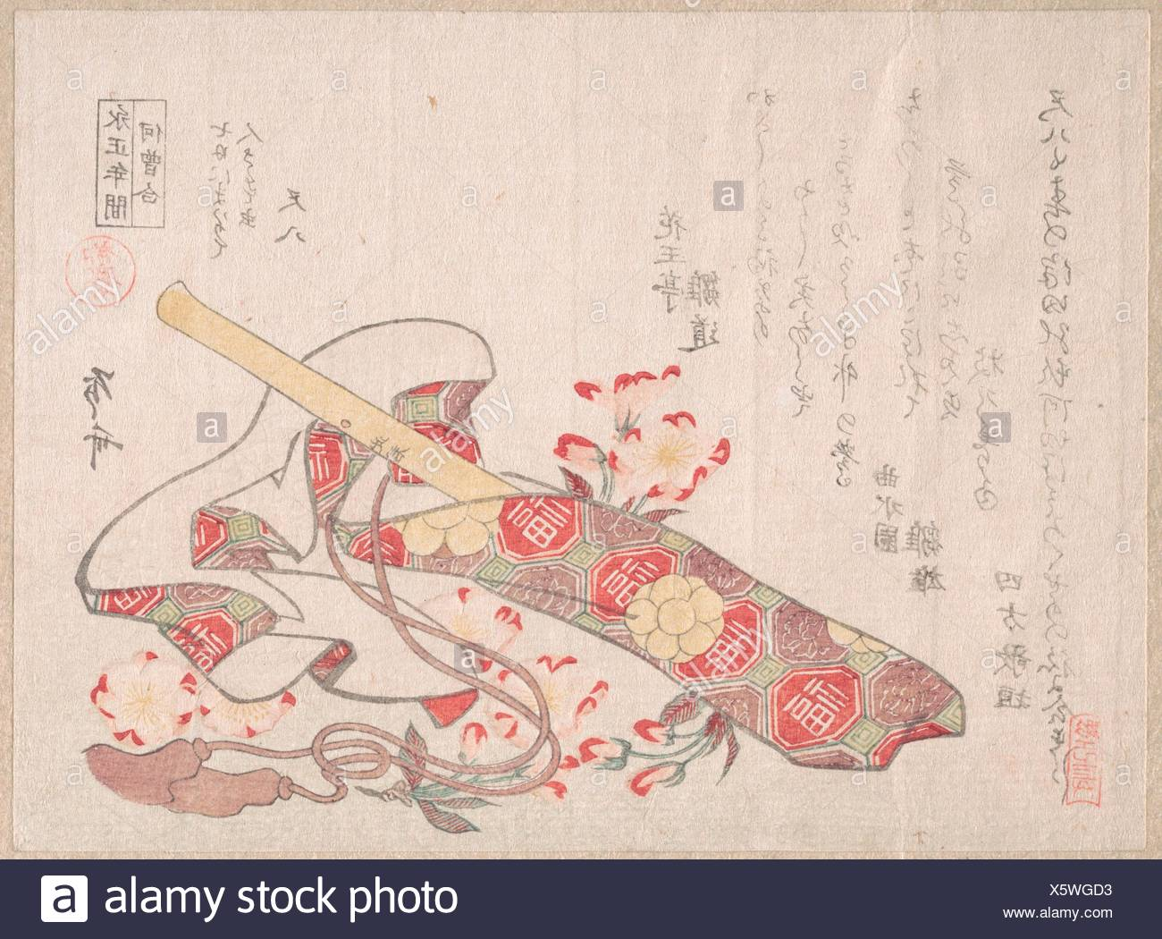 Shakuhachi, (a kind of bamboo flute), with Its Cover and Cherry Flowers. Artist: Ryuryukyo Shinsai (Japanese, active ca. 1799-1823); Period: Edo - Stock Image