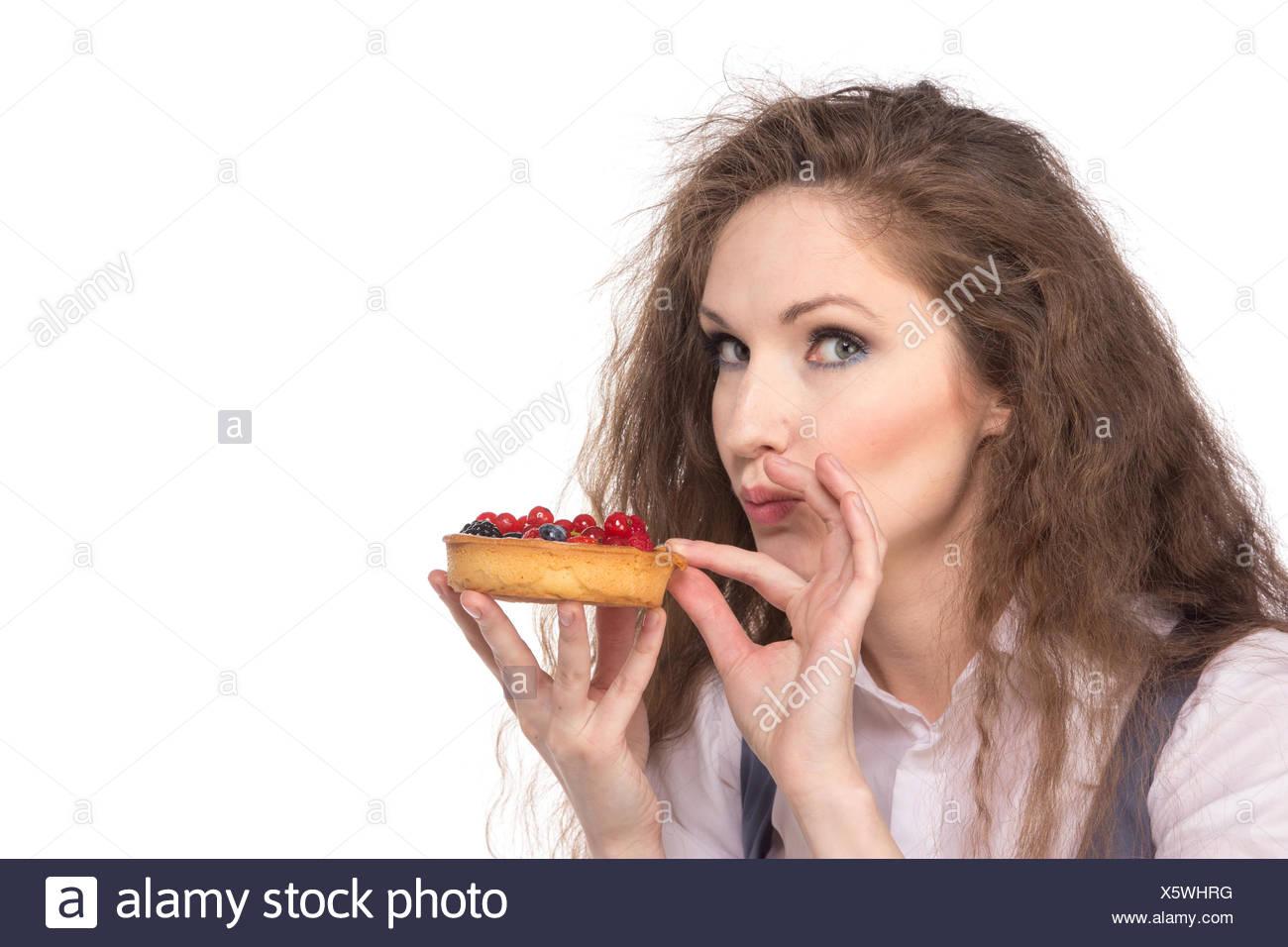 Woman enjoy cake Stock Photo