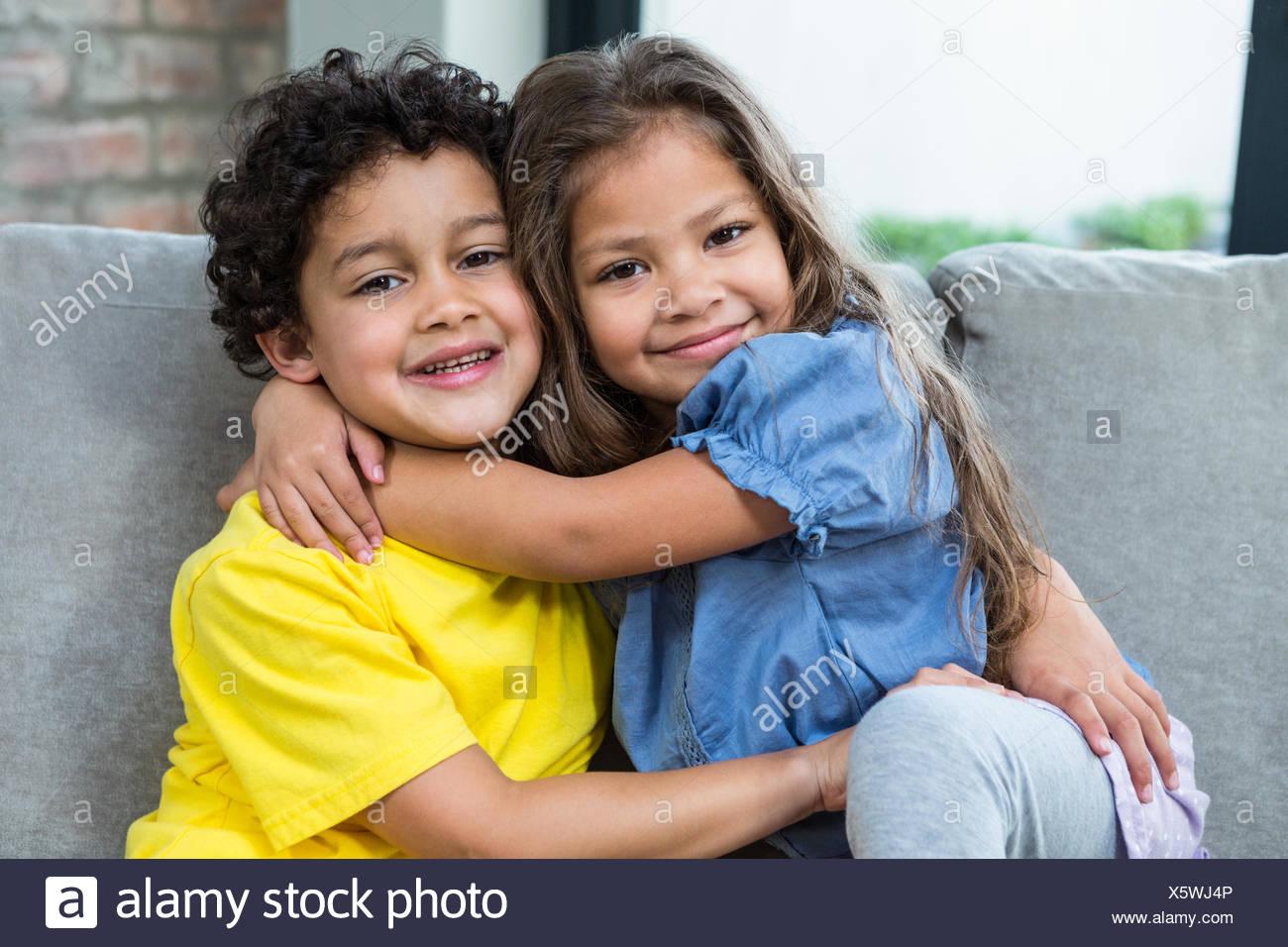 cute siblings hugging stock photo 279002214 alamy