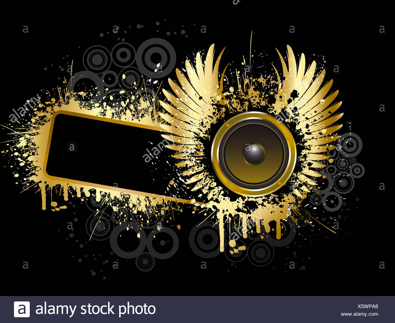 Abstract Music Background Speakers Wings Stock Photos