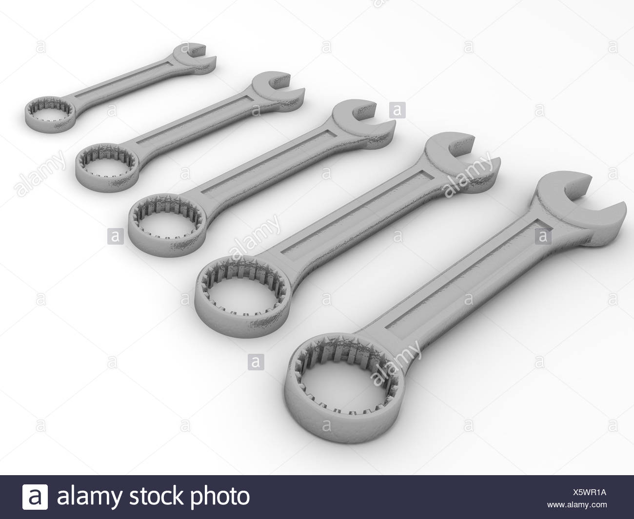 Five spanners. 3d - Stock Image