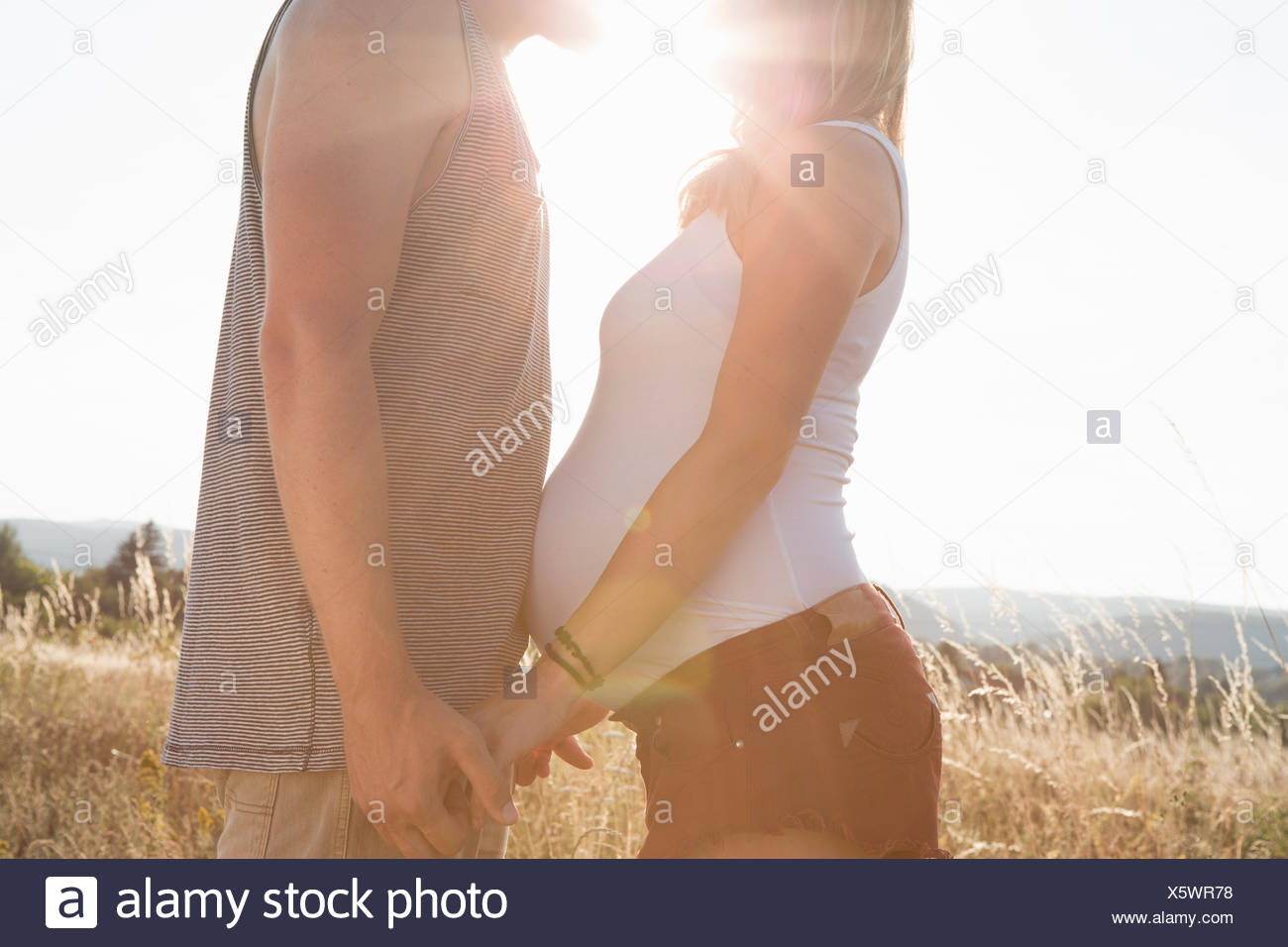 Young man and pregnant girlfriend face to face and holding hands in field - Stock Image