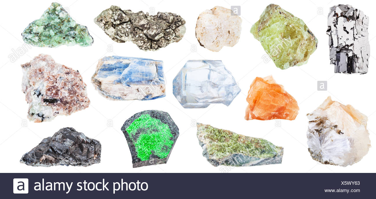 collection of various natural mineral crystals - Stock Image