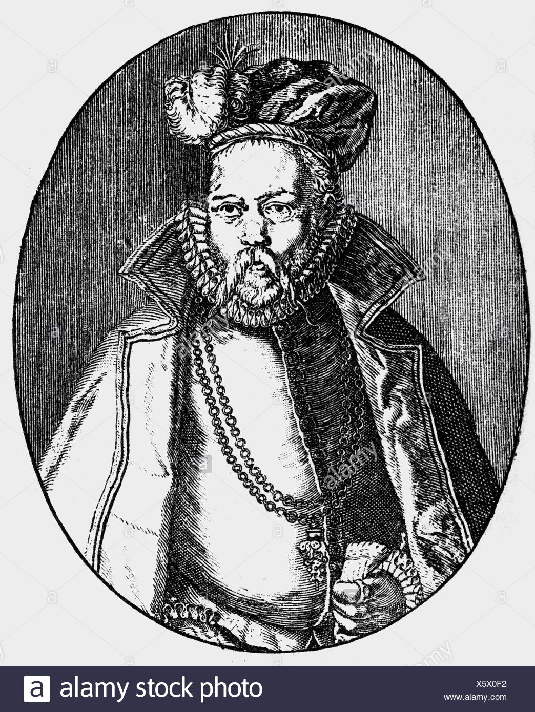 Brahe, Tycho, 14.12.1546 - 24.10.1601, Danish astronomer,    half length, copper engraving, 16th century, , Artist's Copyright has not to be cleared - Stock Image