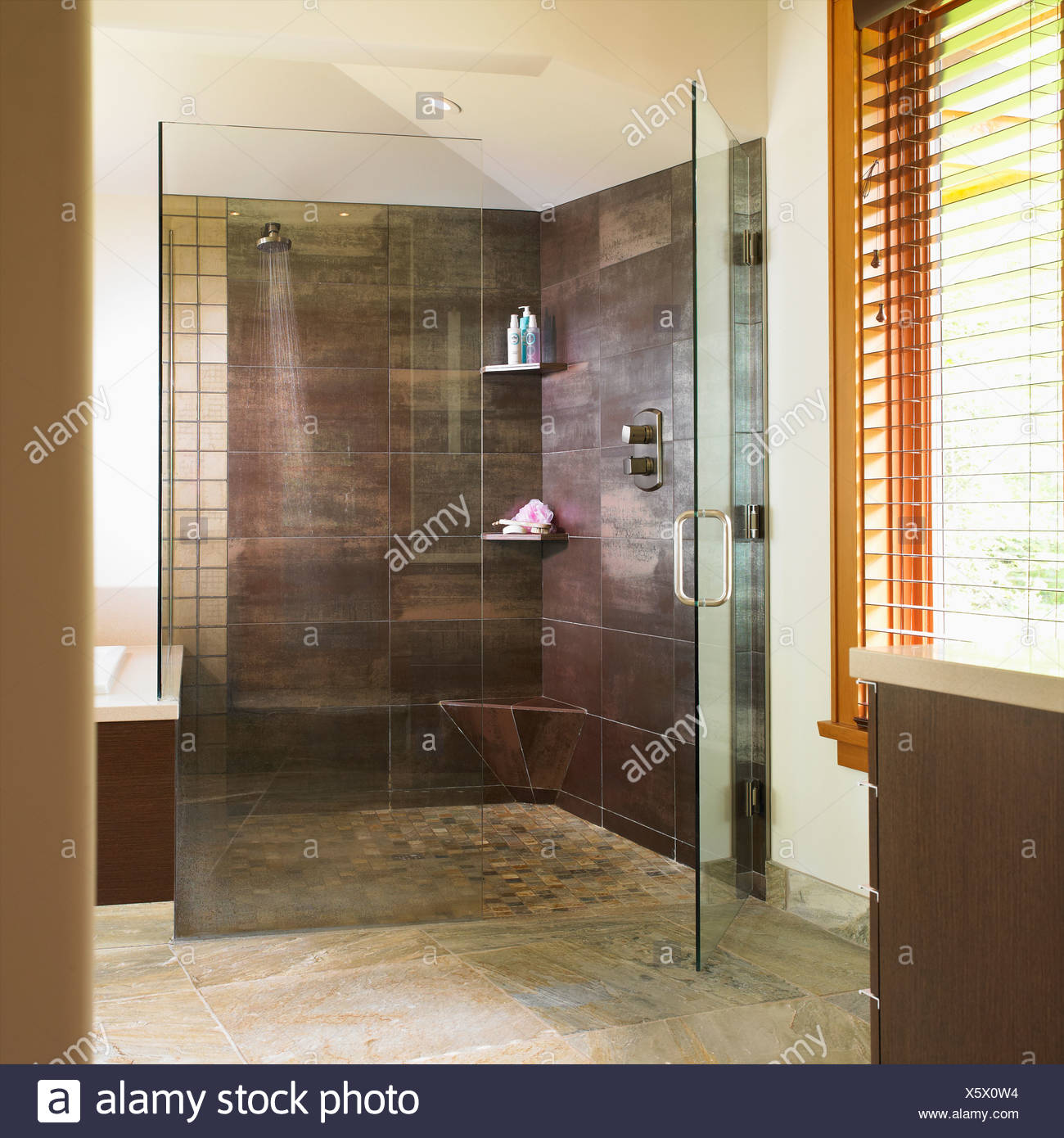 Modern Bathroom With Glass Shower Stall; Victoria, Vancouver Island ...