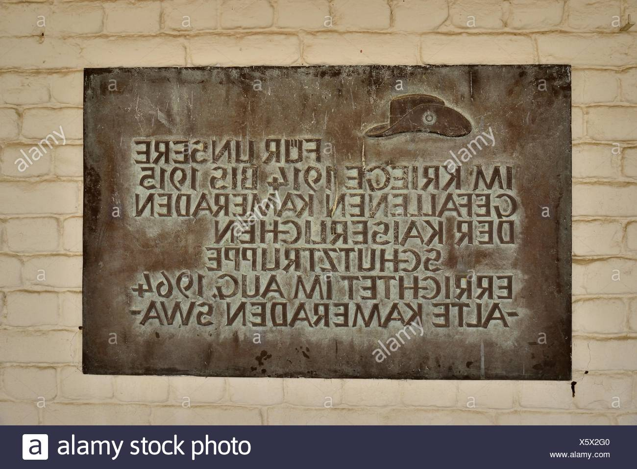 Commemorative Plaque for the fallen soldiers of the German colonial force in the courtyard of the Alte Feste, Windhoek, Namibia - Stock Image