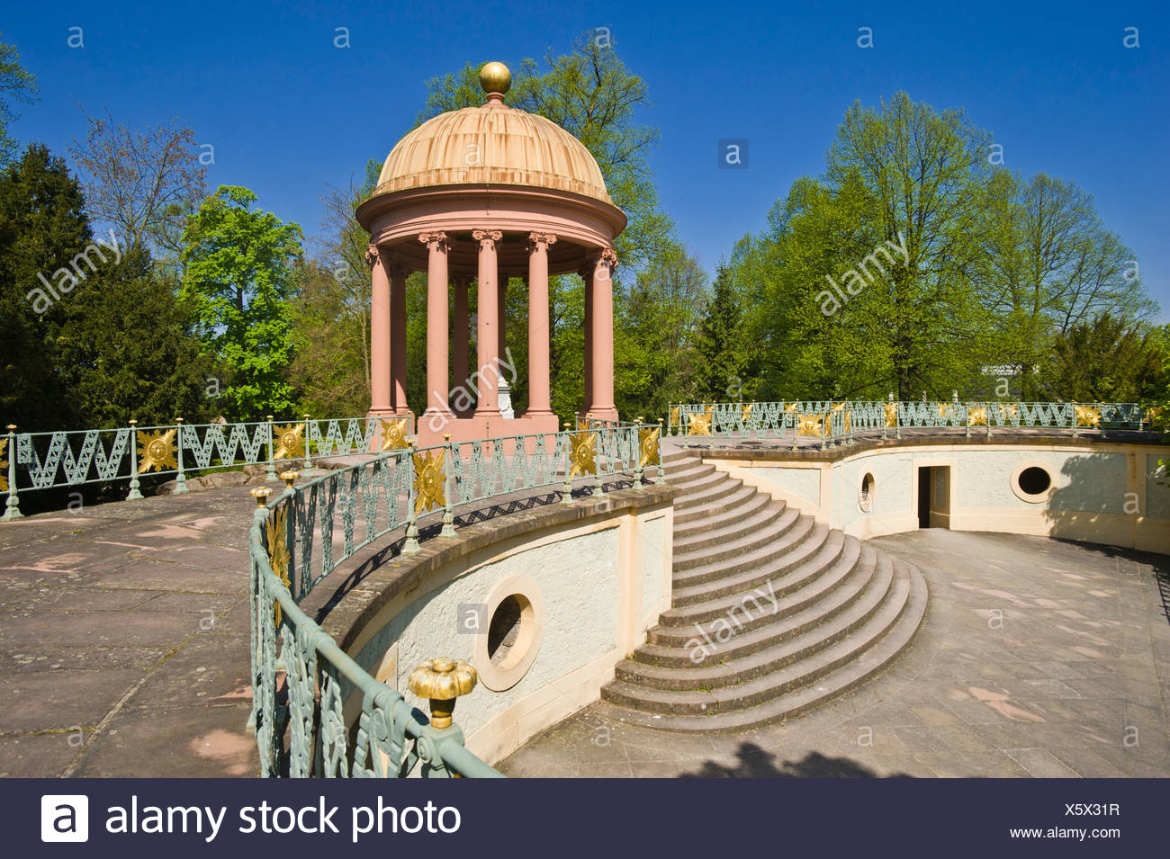 Schloss Schwetzingen Palace, Temple of Apollo in the Palace Gardens, Schwetzingen, Electoral Palatinate, Baden-Wuerttemberg - Stock Image