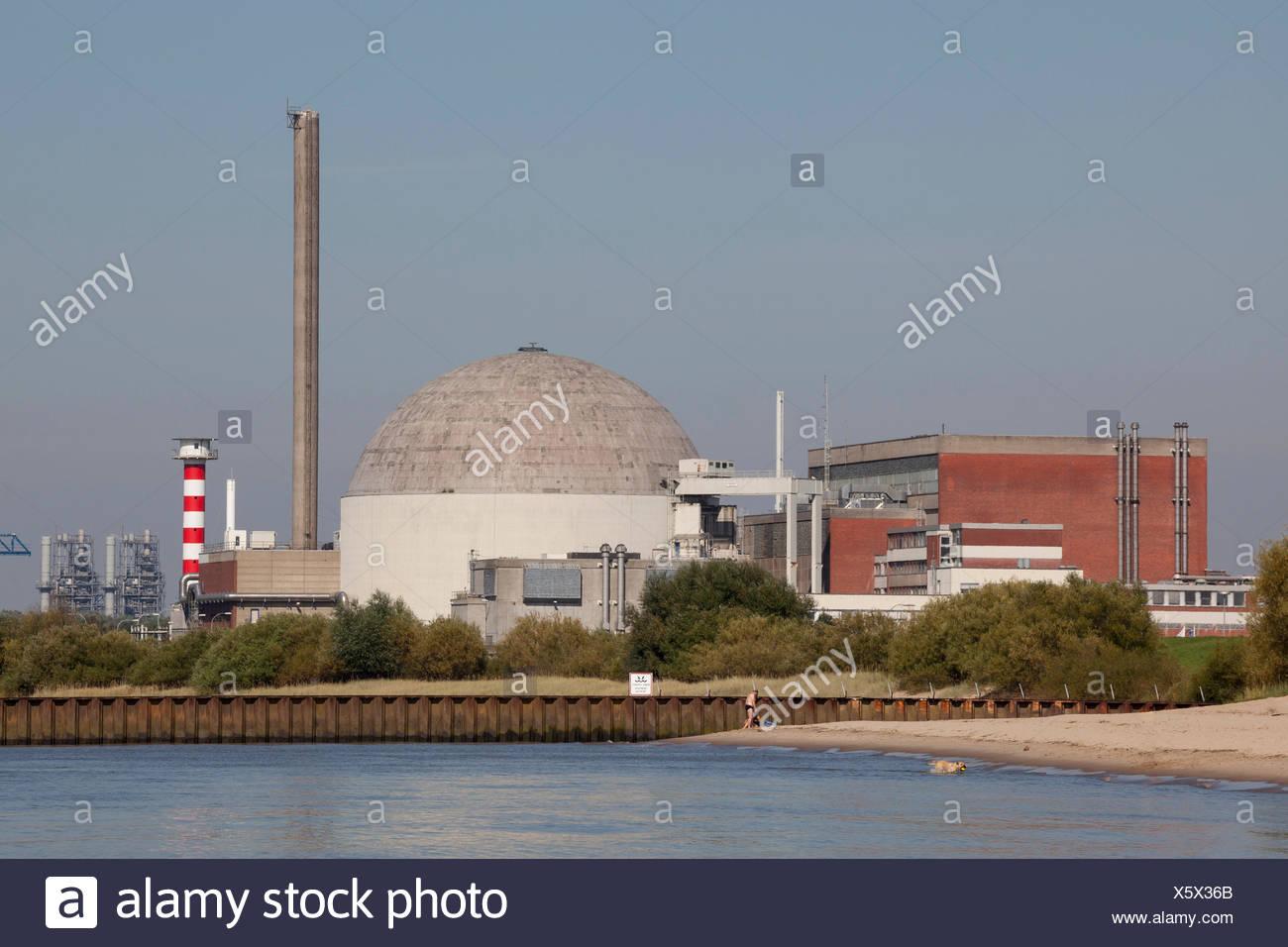 Kernkraftwerk Stade, KKS, nuclear power plant, Elbe, Lower Saxony, Germany - Stock Image