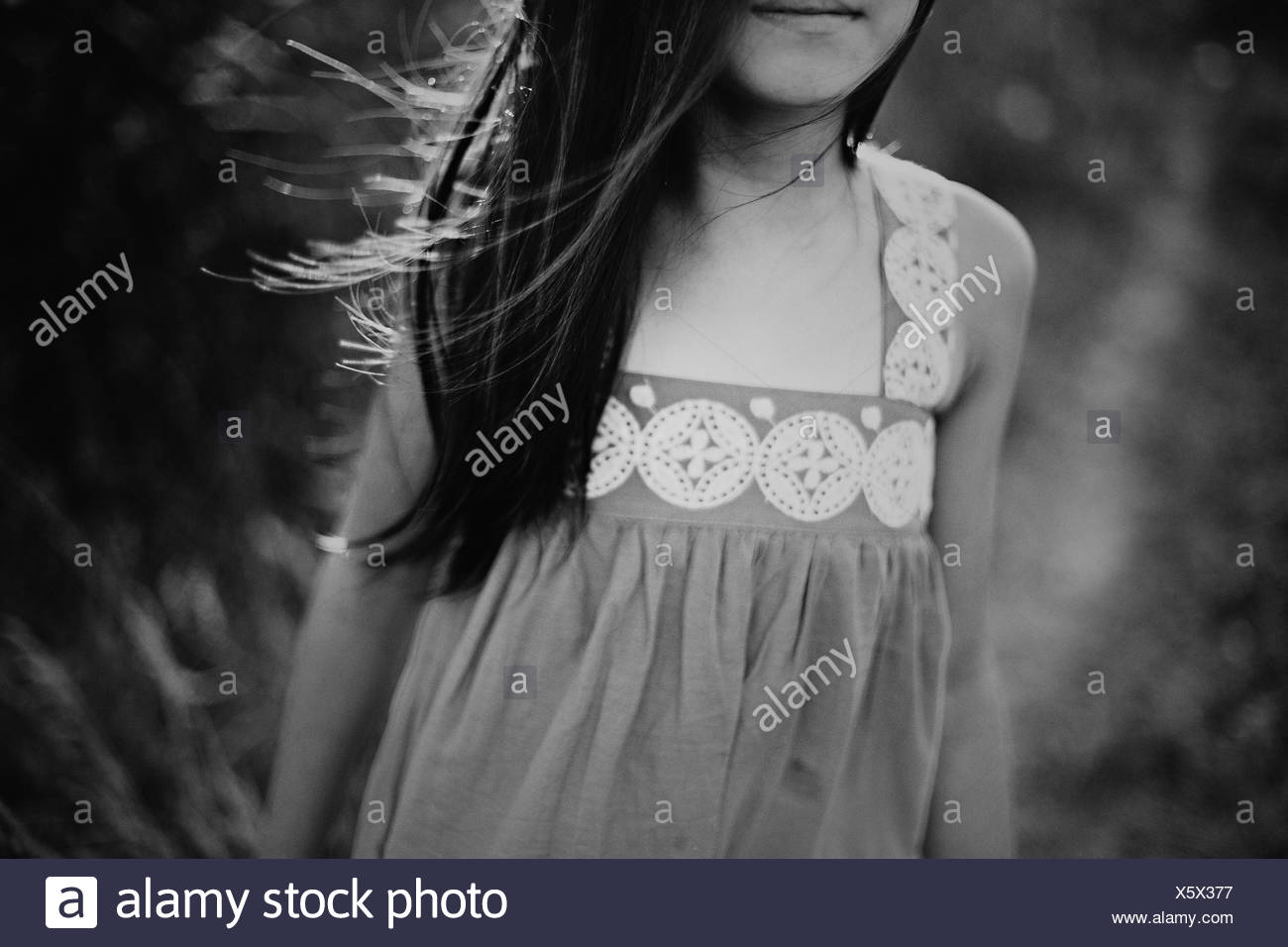 Girl (8-9) with wind tousled hair - Stock Image