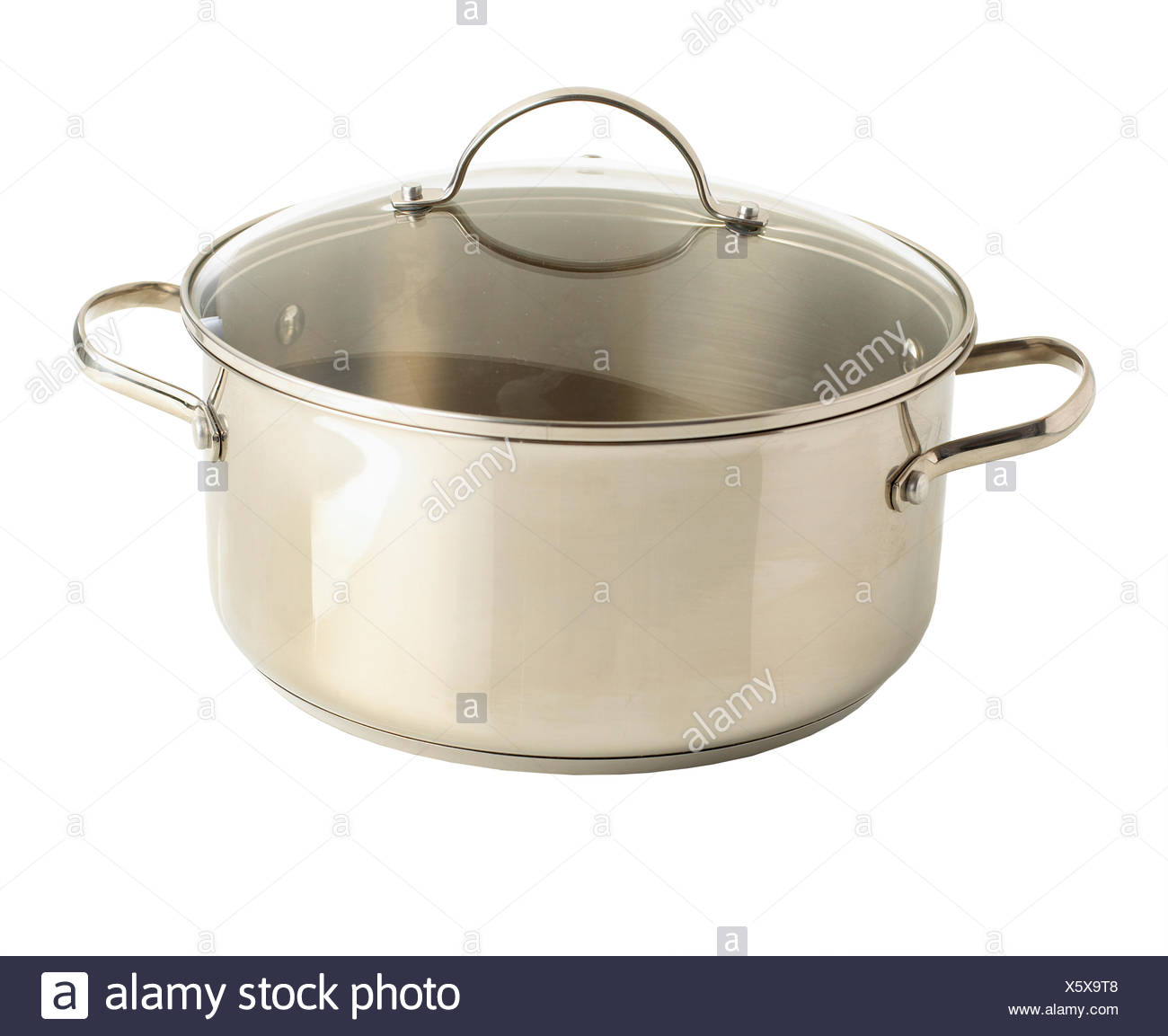 Stock pot with glass lid - Stock Image